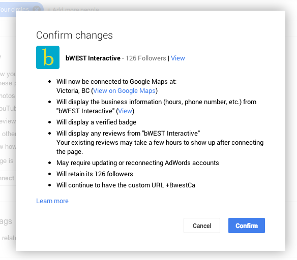 confirm the Google+ merge
